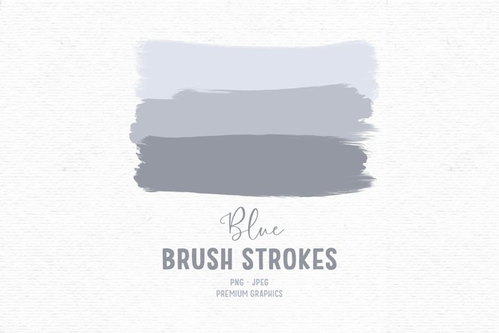 Hand-drawn brush stroke clipart, paint clipart, blue