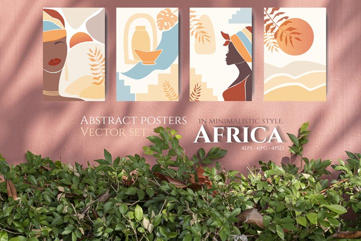 Abstract posters Africa in minimalistic style. Vector set