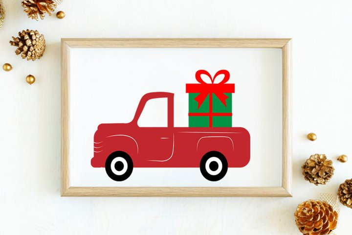 Christmas svg, Gift box and Red Truck svg, Gift box