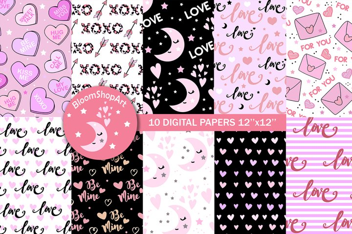 Pink and black valentines day digital paper