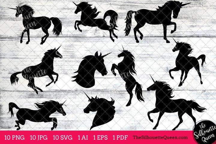 Unicorn Silhouette Clipart Clip Art(AI, EPS, SVGs, JPGs, PNGs, PDF) , Unicorn Clip Art Clipart Vectors - Commercial and Personal Use