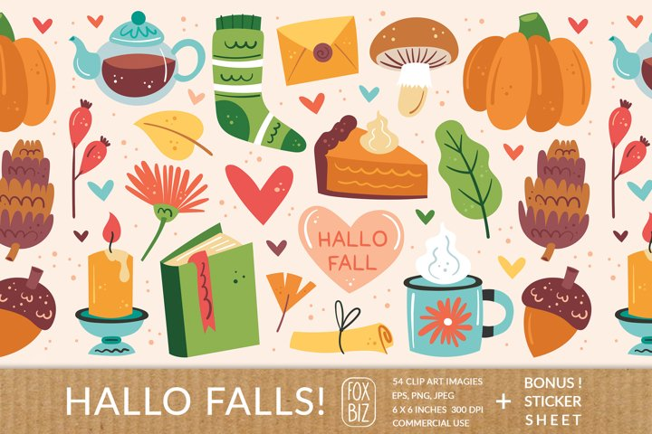 Hello falls. Digital prints. Autumn, Thanksgiving.