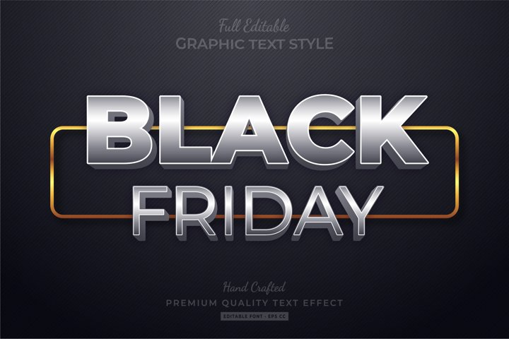 Black Friday Silver Gold Editable Text Style Effect Premium