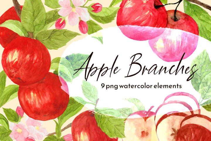 Red Apple Branches PNG Watercolor Clipart Set