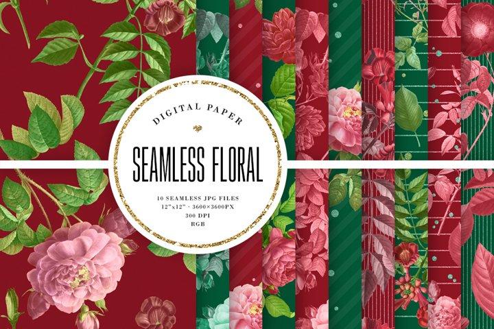 Red & Green Tileable Patterns - Vintage Floral Backgrounds