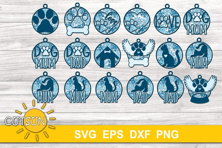 Christmas SVG | 3D Layered Pet love ornaments - 11 designs