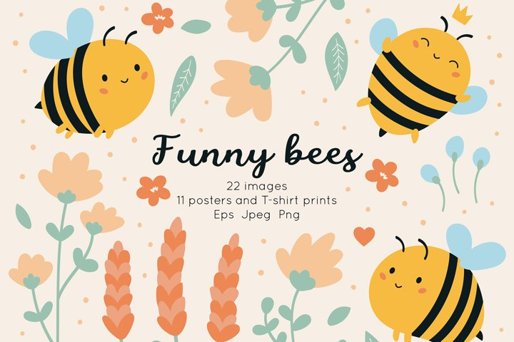 Funny kawaii bees and summer flower clipart