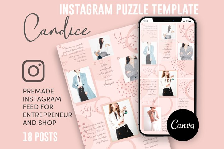 Candice, Pink Style Instagram Puzzle Feed, 18 Posts