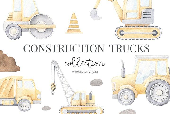 Watercolor Construction Trucks