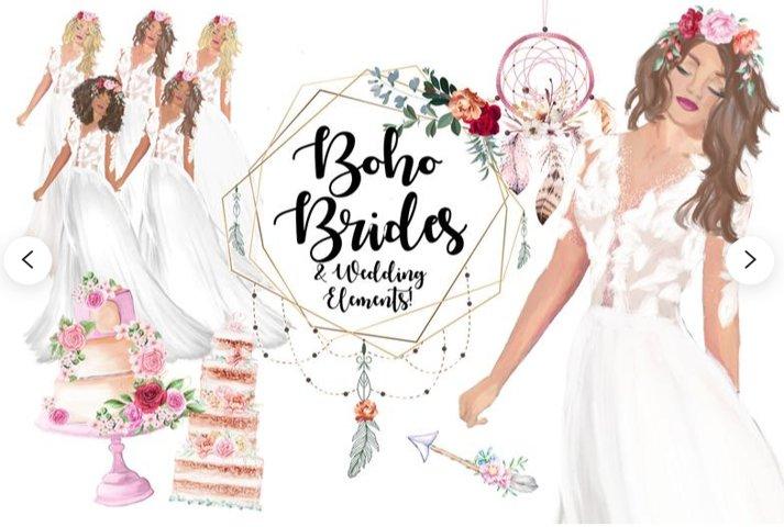 Boho Brides Clipart, Bohemian Wedding Clipart, Boho Bridal