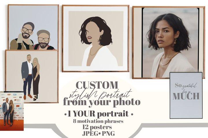 Custom portrait. Affirmation posters. Modern flat portrait