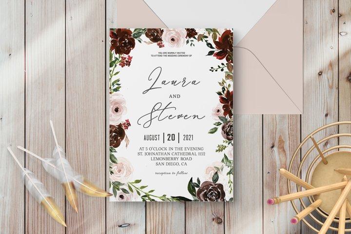 Radiant Bloom Floral Wedding Invitation Template