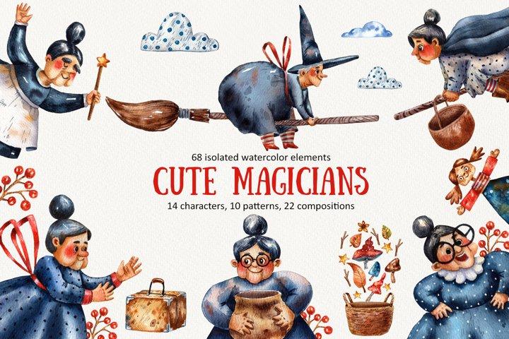 Cute Magicians - Watercolor Clip Art