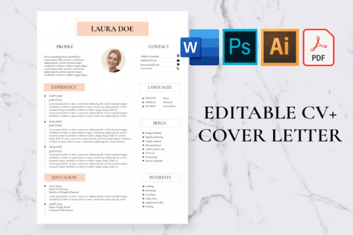 CV Template, Resume Template, Cover letter template