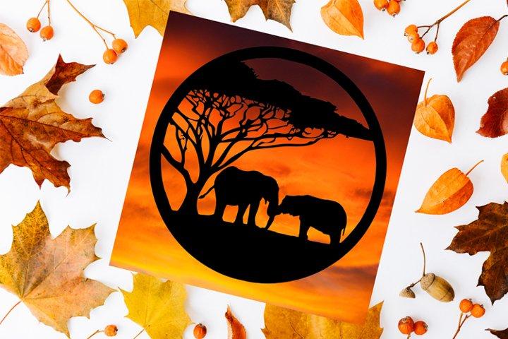 Elephants Paper Cut Design SVG PNG PDF JPEG