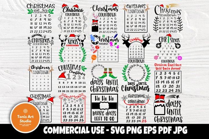 Christmas Countdown SVG Bundle, Advent Calendar, Signs Svg