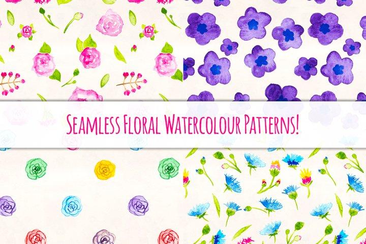 Seemless Floral Watercolor Patterns Bundle