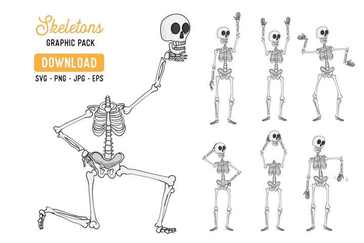 Skeleton Vector Clipart Pack