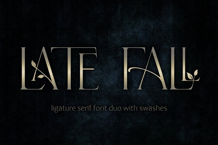 Late Fall - floral ligature serif font duo