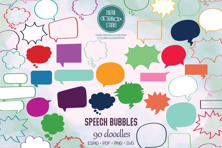 Color Speech Bubbles | Comic Book Talk, Thinking Cloud