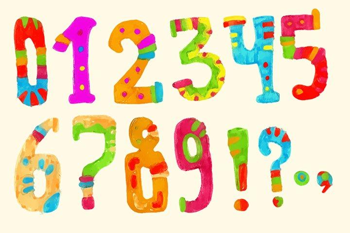 Ethnic brush painted vector alphabet example 2