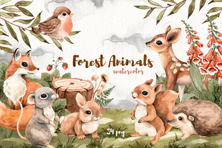 Watercolor Forest Cute Little Animals