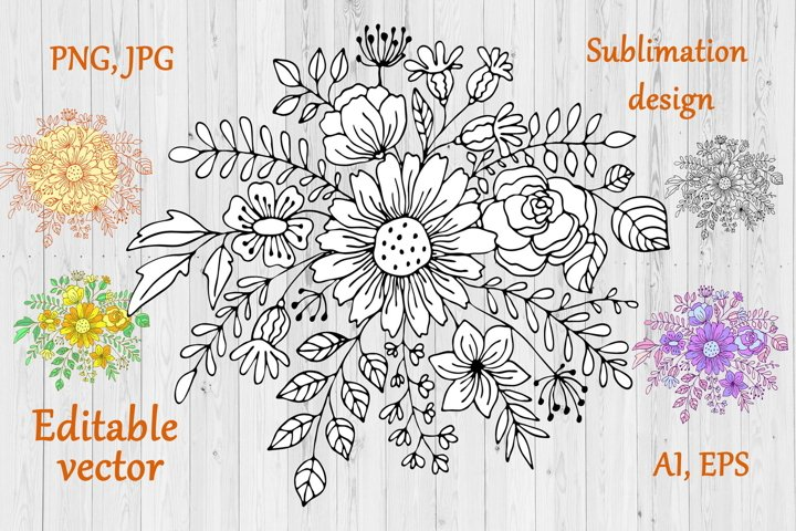 Flowers Bouquet Line Art - Botanical Sublimation Design
