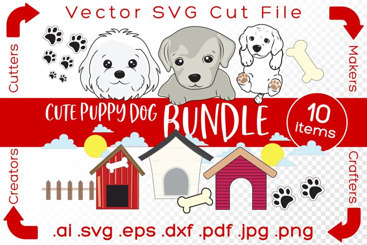 Cute Puppy Dog Bundle SVG Cut File for Makers DIY Kit