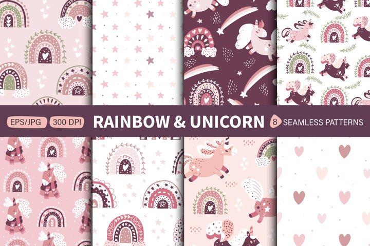 Rainbow & Unicorn. Modern baby pattern. Kids clipart