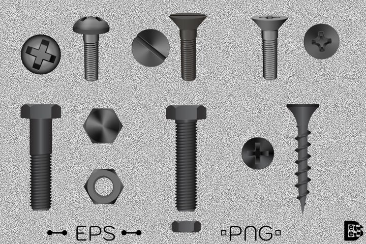 Metallic bolt and screw clipart Pack. Vector illustration