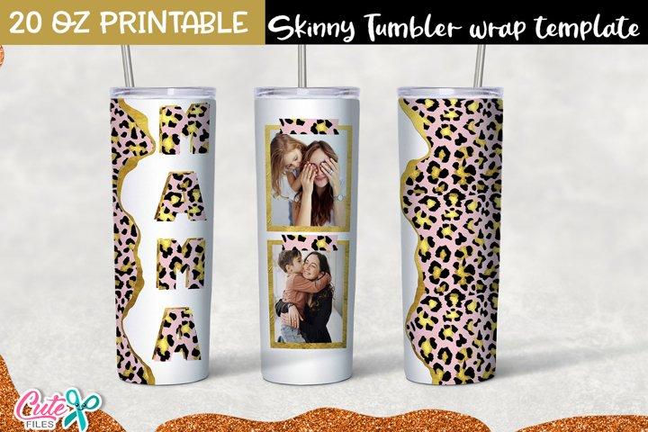 Rose and gold Leopard Tumbler- sublimation Photo Frame