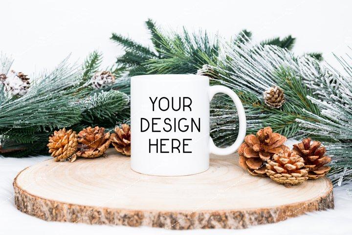 11 Oz Blank White Coffee Cup Handle Mug Winter Mockup