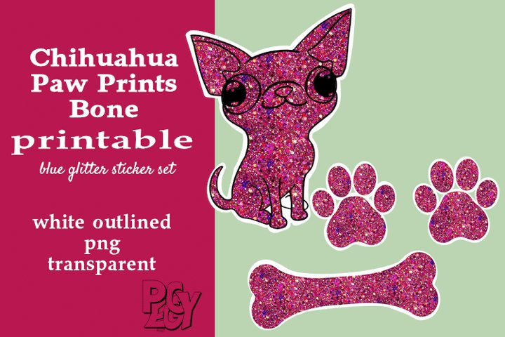 Chihuahua Pink Glitter Printable Sticker SET