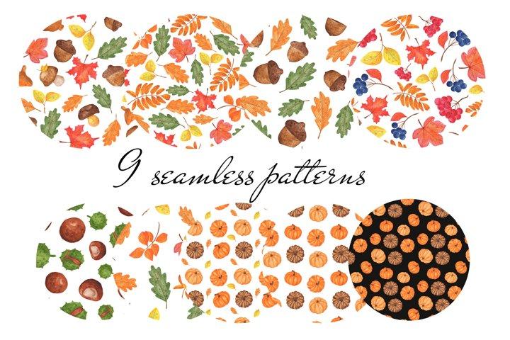 Autumn watercolor patterns