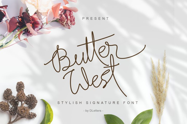 Butter West | Stylish Signature Font