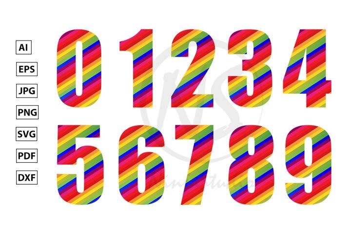 0, 1, 2, 3, 4, 5, 6, 7, 8, 9 Rainbow Numeral