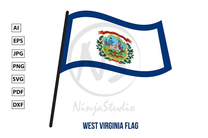 West Virginia U.S. State Flag Waving Vector