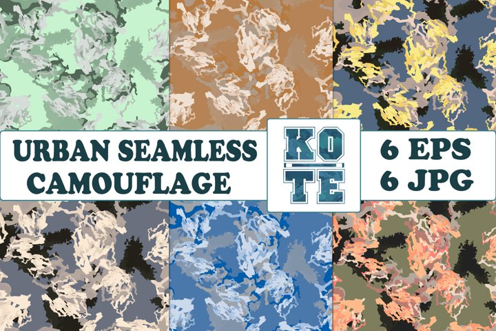 6 Seamless Military Urban Camouflage