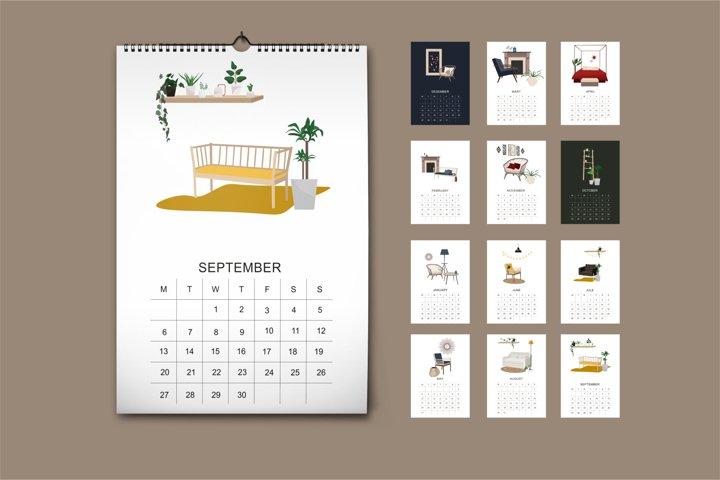 Calendar 2021 - instant download-print planner minimalism