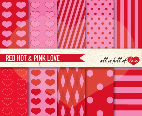 Red Pink Digital Paper Sweet 16 Background Patterns