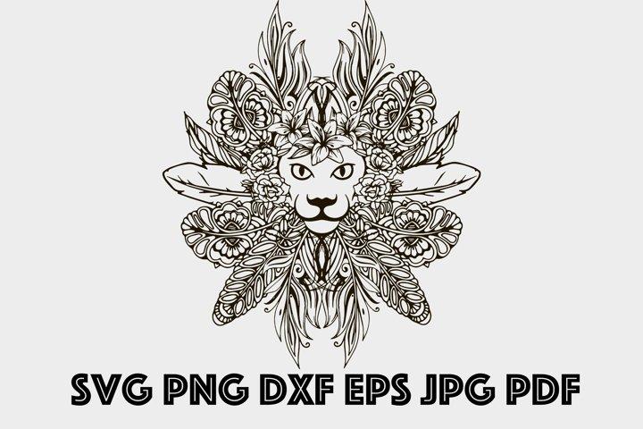 Lion SVG Mandala SVG King Lion Mandala SVG Zentangle Animal