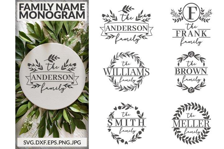 Family Name Monogram svg Bundle.