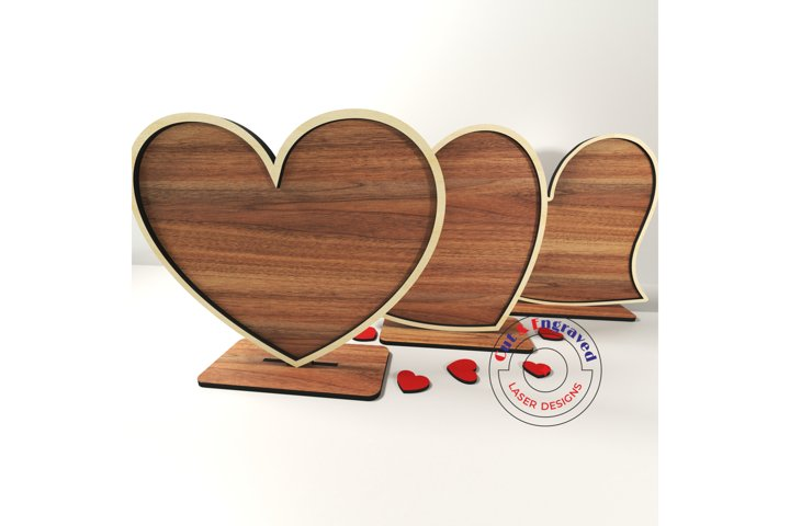 Valentines day hearts on a stand 3 styles. Glowforge ready.