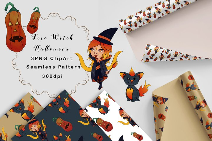 Halloween set clipart and Seamless patterns Witch and Cat