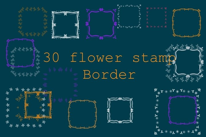 Procreate brushes flower stamp 30 border