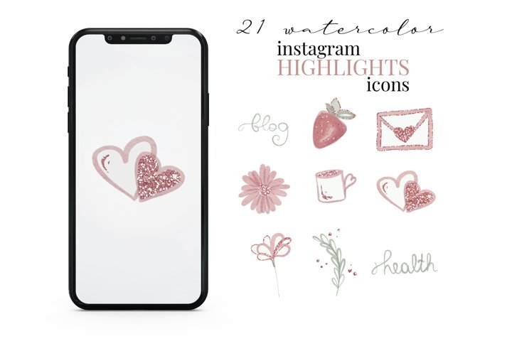 Watercolor Instagram Story Highlight Icons, Pink and Glitter