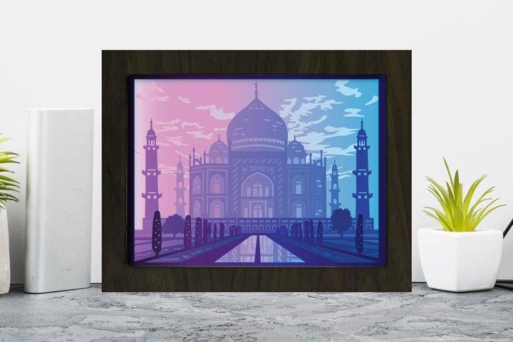 Taj Mahal 3D Paper Cutting Light Box - Shadow Box