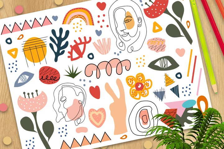 Stylish Hand drawing set of shapes and doodle objects