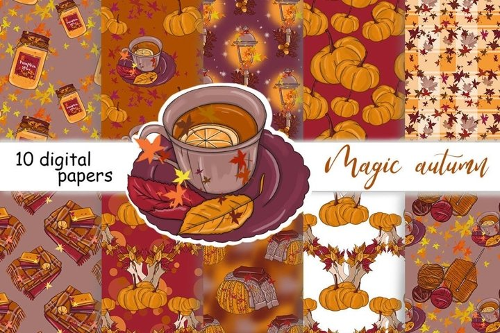 Magic Autumn PATTERN Fall Spice Party Paper Graphics - JPEG