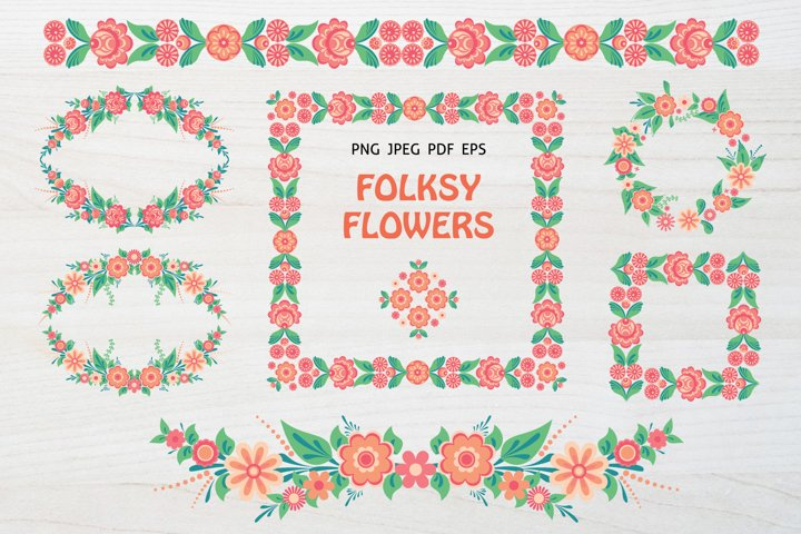 Folkart Flowers Clipart, Floral Frames & Borders